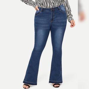Denim - Plus Raw hem flare leg jeans